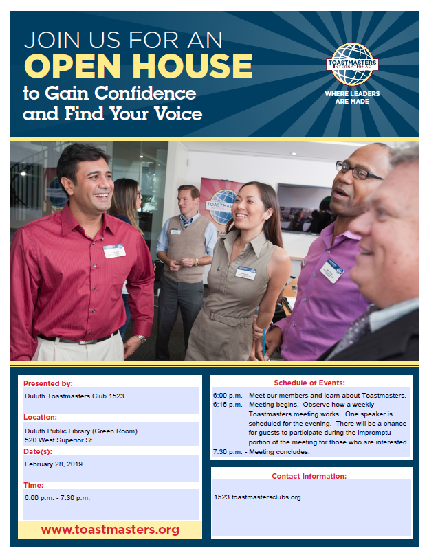 Open House Duluth Club 1523 2 28 2019 Toastmasters Area 3 4